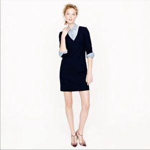 NWT J. Crew Navy Wool Crepe Dress, Size 4!
